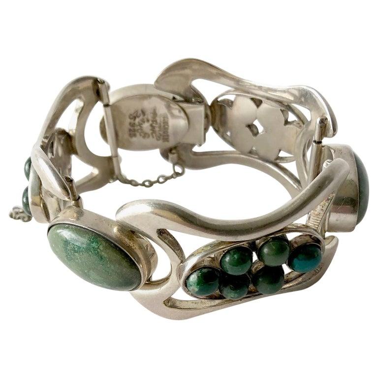 Erika Hult de Corral Mexican Sterling Silver Natural Gemstone Cabochon Bracelet For Sale