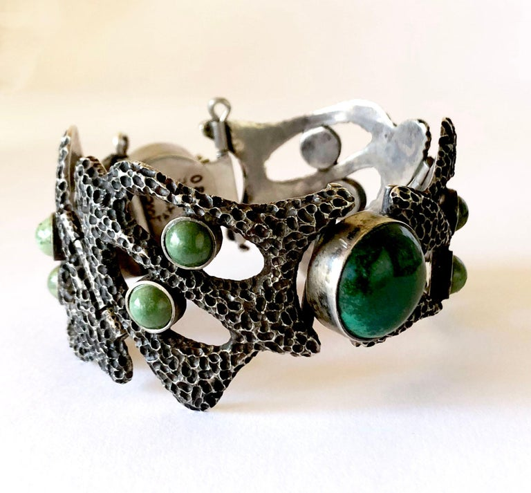 Modernist Erika Hult de Corral Textured Sterling Natural Gemstone Linked Mexican Bracelet For Sale