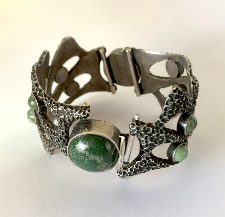 Cabochon Erika Hult de Corral Textured Sterling Natural Gemstone Linked Mexican Bracelet For Sale