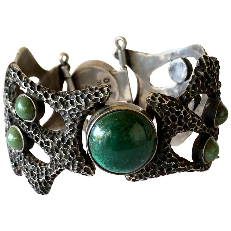 Erika Hult de Corral Textured Sterling Natural Gemstone Linked Mexican Bracelet For Sale