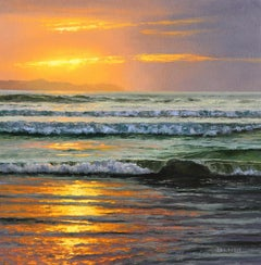 Awake - original seascape sunset oil painting contemporary art modern