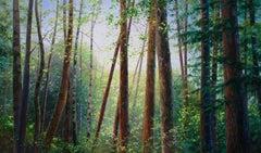 Bambi Original Forest  landscape painting Contemporary Art 21st Century