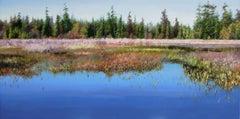 Beaver Lake - Canada landscape lake floral natural painting modern art 21st C