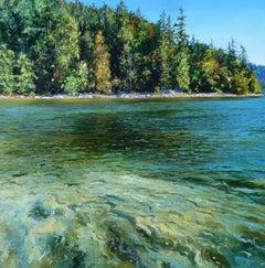 Belcarra, Canada - Original lake nature landscape sky painting contemporary art