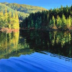 Crisp & Quiet - original lake landscape painting contemporary modern art 21st C