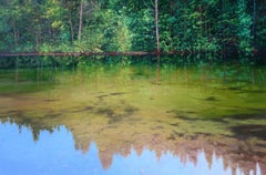 Day Dream - sky forest reflecting landscape oil painting modern Art 21st Century