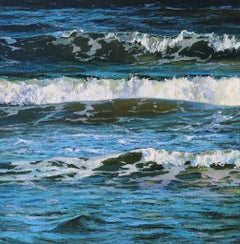 New Breeze - land seascape beach sunset oil painting modern contemporary art
