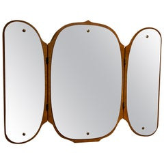 Eriksmålaglas, Adjustable Organic Wall Mirror Teak Cut Mirror Glass Sweden 1950s