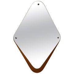 Eriksmålaglas, Wall Mirror Teak Cut Mirror Glass, Sweden, 1950s