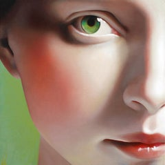"""Laurel"", Oil on canvas, modern realism, female portrait with green eyes"