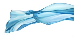 Released 2, acrylic on canvas, modern realism, abstract blue flowing fabric veil