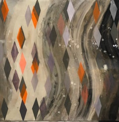 Lifted From Oblivion/ oil and resin on canvas - grey, orange geometric diamonds
