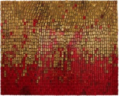 Thirst of the Dragonfly: Red & Gold 3D translucent resin sculptural oil painting