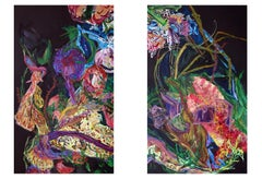 Textural abstract landscape diptych by Erin Treacy - Giving of Two