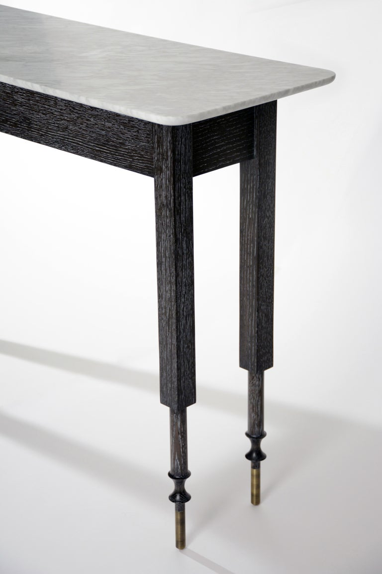 American Erland Console Table with Carrara Marble Top by Matthew Fairbank For Sale