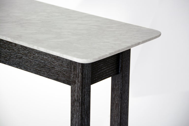 Beveled Erland Console Table with Carrara Marble Top by Matthew Fairbank For Sale