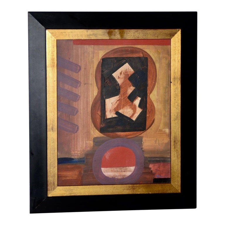 Vintage abstract painting by Erle Loran (1905 - 1999), c.1964.   This is another fantastic period abstract painting by listed artist, Erle Loran. The untitled work is done in oil on board. The painting is in very good vintage condition. Signed and