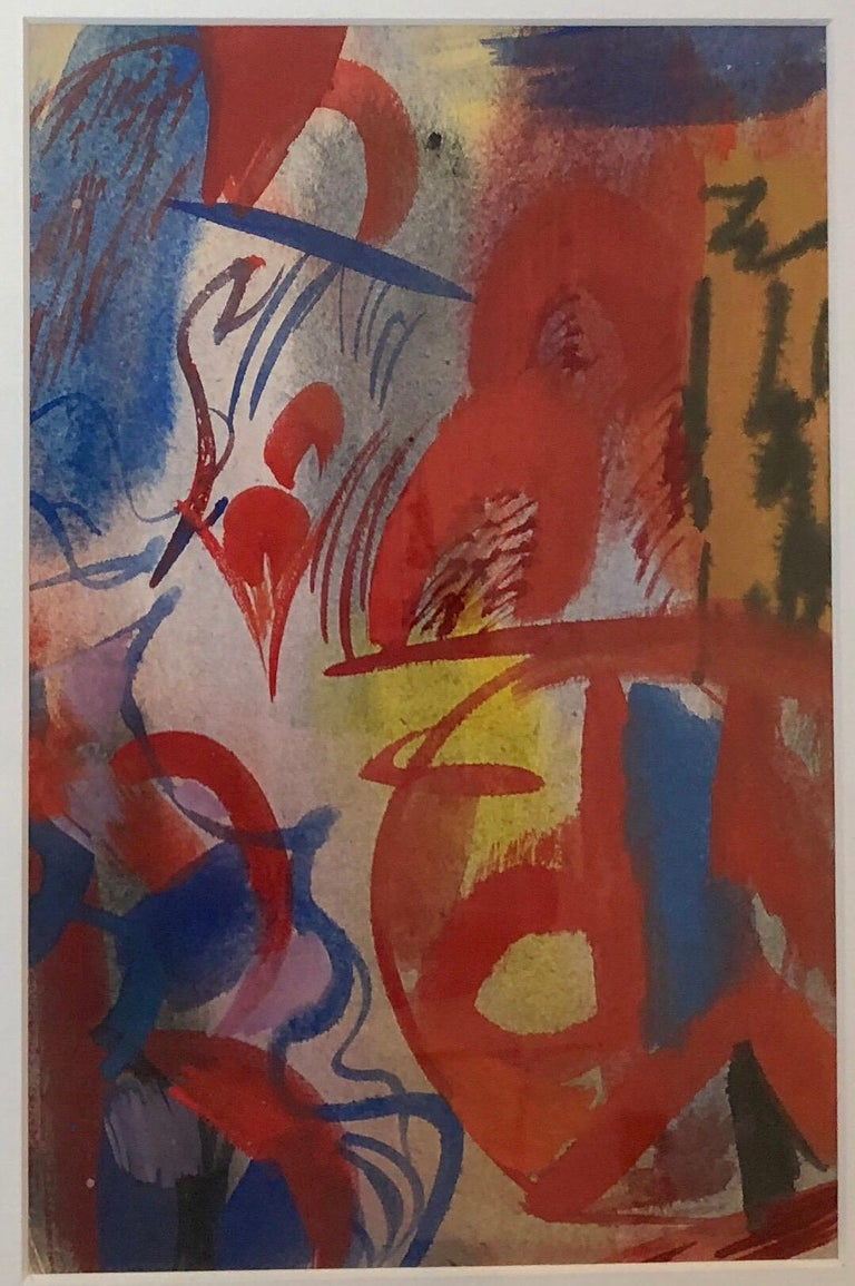 Erle Loran Modernist Abstract Colorful Gouache Painting California Artist For Sale 1