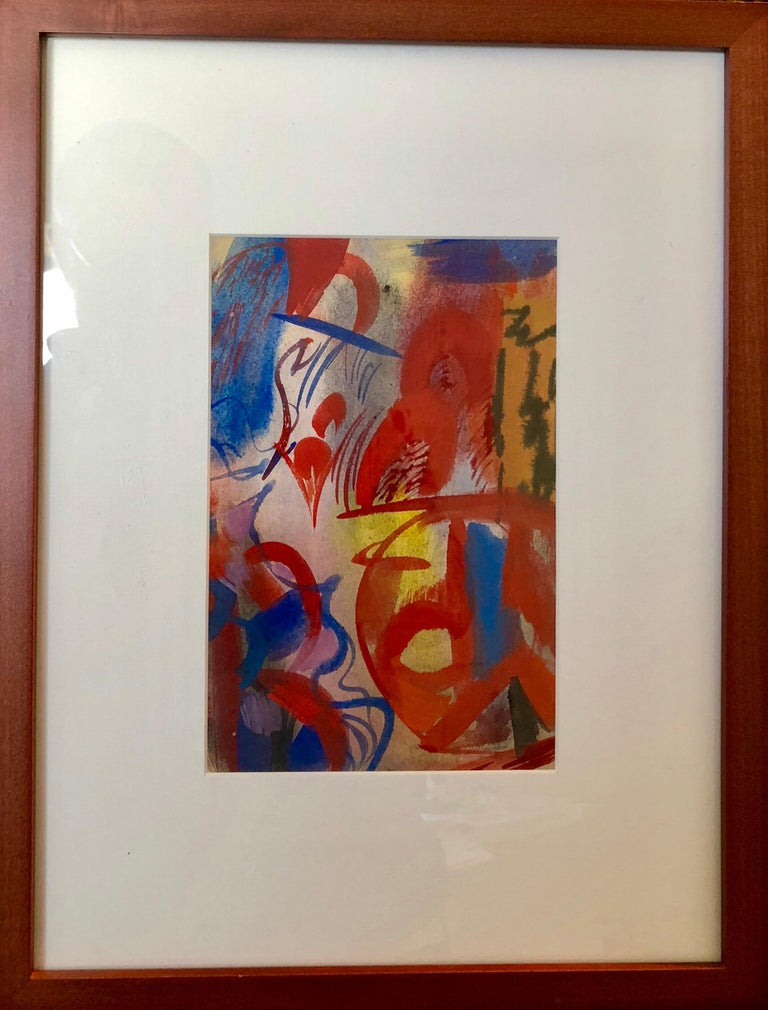 Erle Loran Modernist Abstract Colorful Gouache Painting California Artist For Sale 3