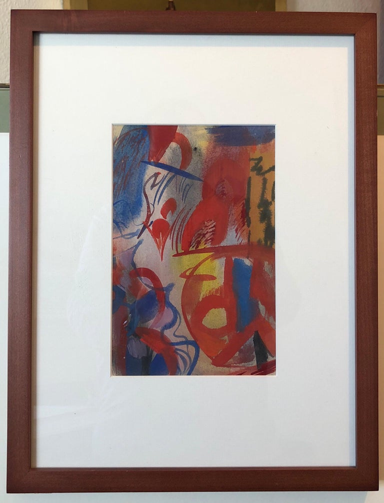 Erle Loran Modernist Abstract Colorful Gouache Painting California Artist For Sale 4