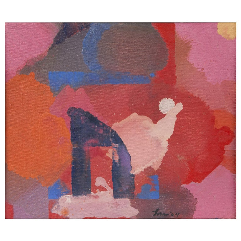 Erle Loran 'The Gate' Abstract Oil Painting - Pink Abstract Painting by Erle Loran