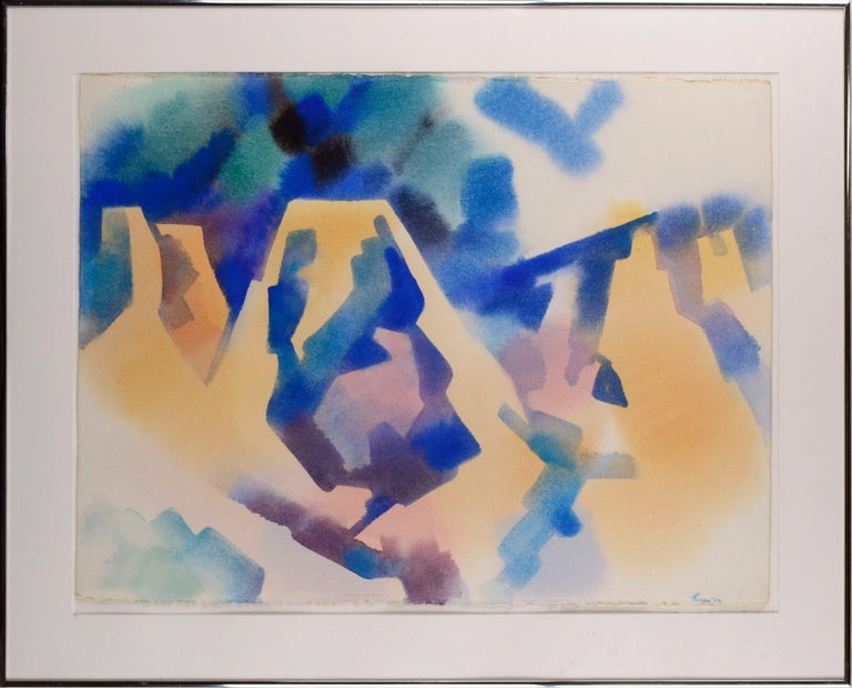 """Erle Loran Abstract Painting - """"Mining Country"""" - Abstract Geometric Landscape"""