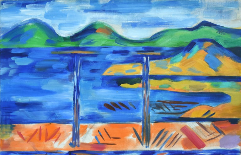 Oakland to Tamalpais Views - Fauvist Abstracted Landscape - Painting by Erle Loran
