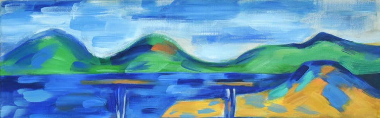 Oakland to Tamalpais Views - Fauvist Abstracted Landscape - Blue Landscape Painting by Erle Loran