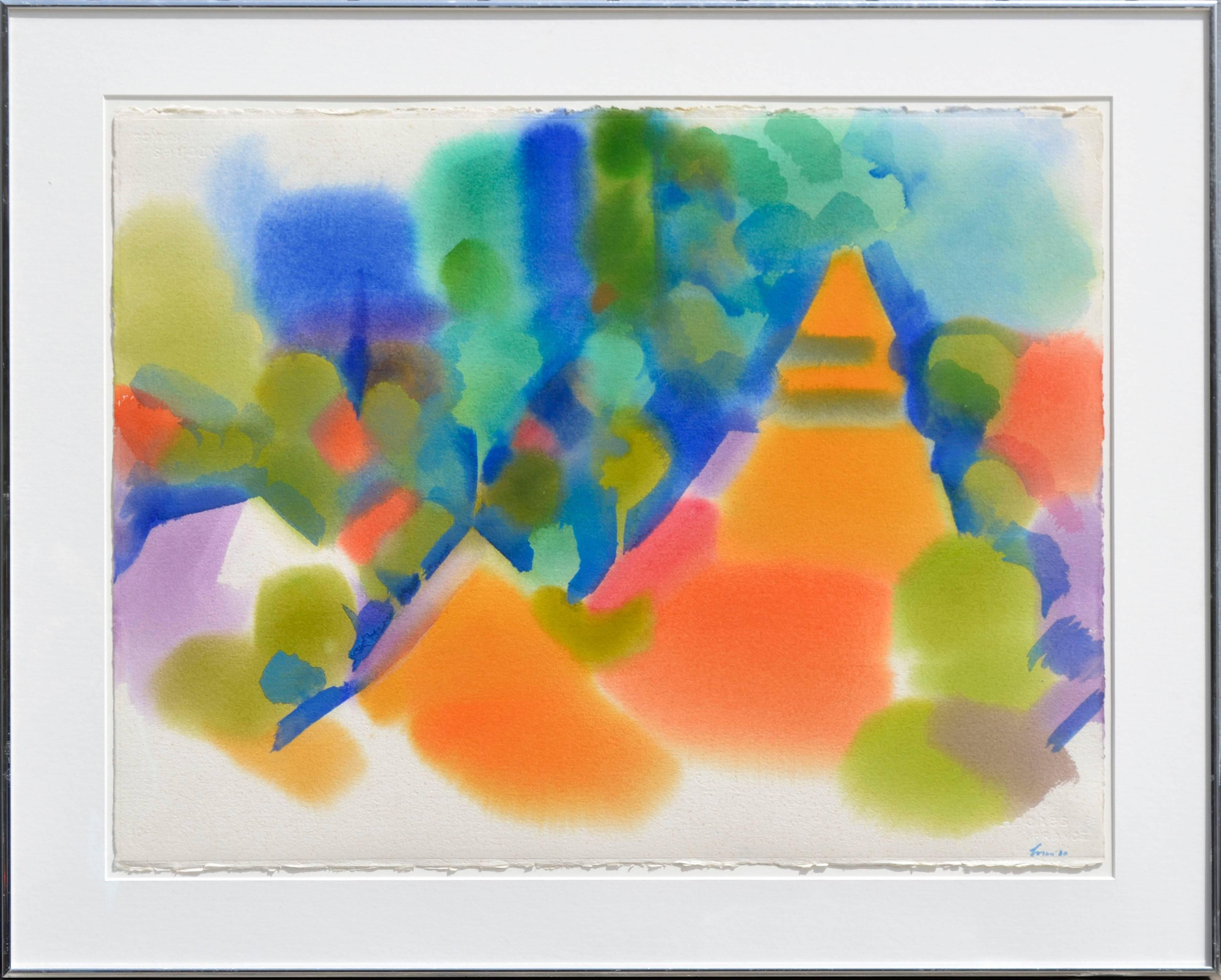 """Peaks Near Malakoff Diggins I"" - Abstract Geometric Landscape Watercolor"