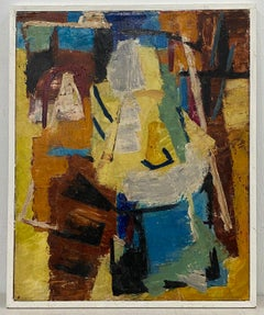 Vintage Abstract Oil Painting by Erle Loran c.1950s