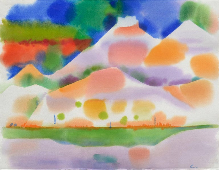 Yellow Green Lake Abstracted Landscape Watercolor - Painting by Erle Loran