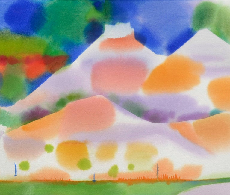Yellow Green Lake Abstracted Landscape Watercolor - Abstract Expressionist Painting by Erle Loran