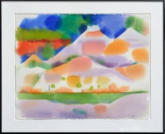 Yellow Green Lake Abstracted Landscape Watercolor