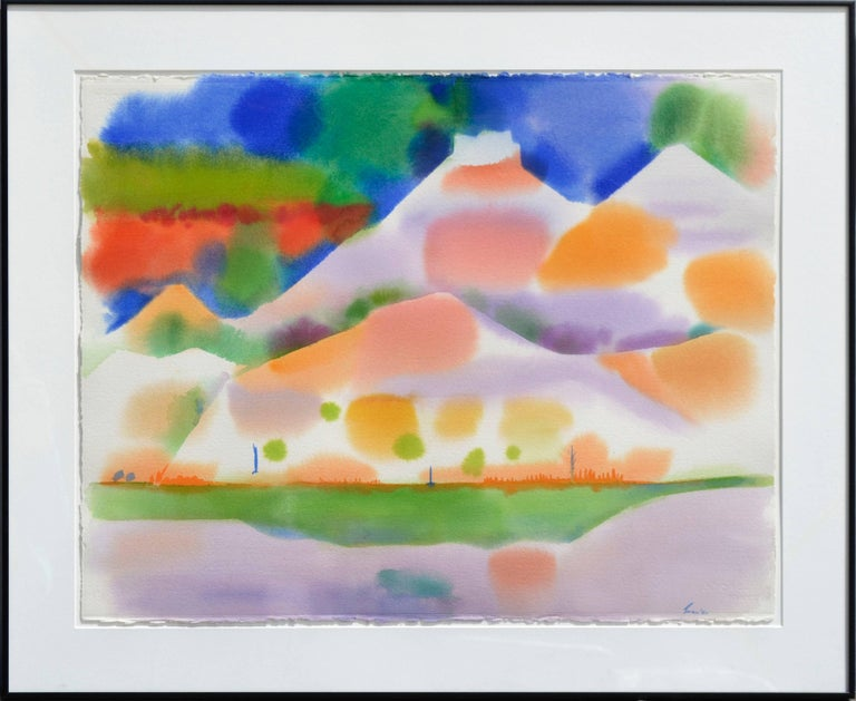Erle Loran Landscape Painting - Yellow Green Lake Abstracted Landscape Watercolor