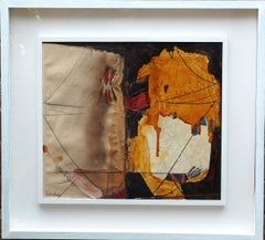 Abstract Composition with Ochre - Danish 1969 art mixed media and oil painting
