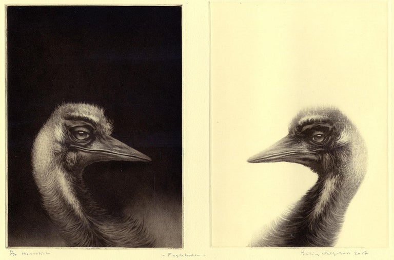 Two beaked birds one light and one dark face off against each other Erling Valtyrson created this 2017 mezzotint in an edition of 30 and signed, titled and numbered each in pencil.  Erling Valtyrson (Norway, b. 1955)  Valtyrson began drawing at a