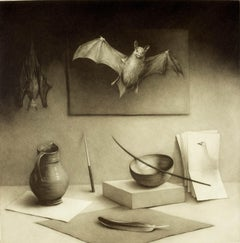 Composition in Grey ( Bats, quill pen, paper and pitcher)
