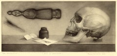 From A Cabinet (Still life with skull, quil pen, inkwell, paper and icon)
