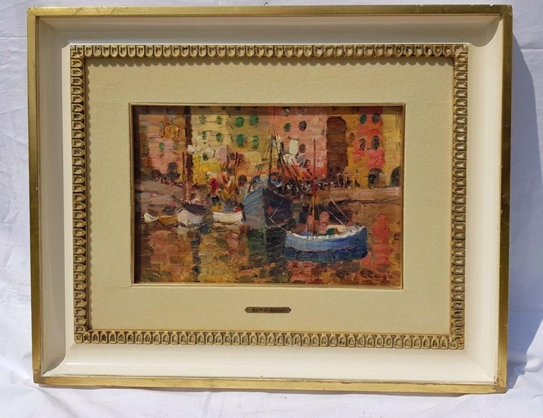 19th century Italian painting view of Milan - Signed oil on panel - Venice Italy - Painting by Erma Zago