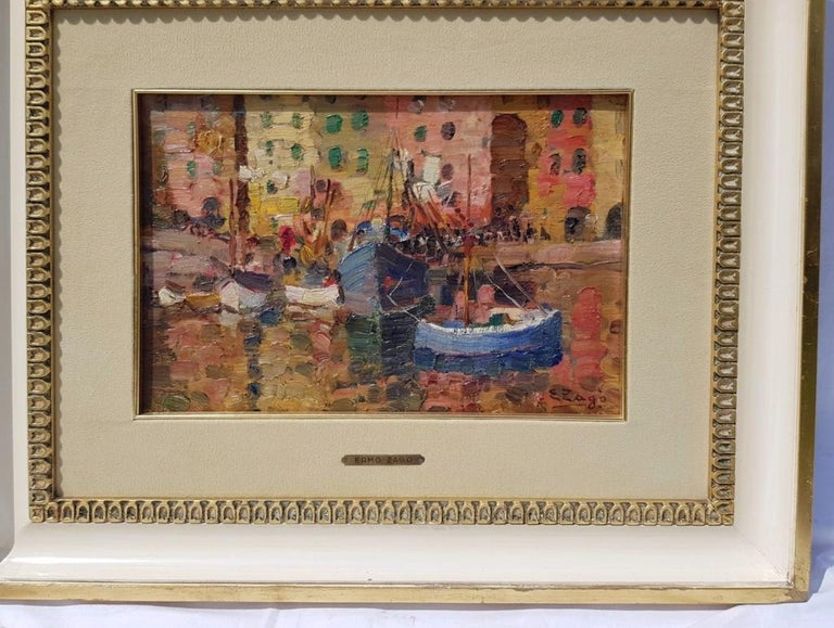 19th century Italian painting view of Milan - Signed oil on panel - Venice Italy - Art Deco Painting by Erma Zago