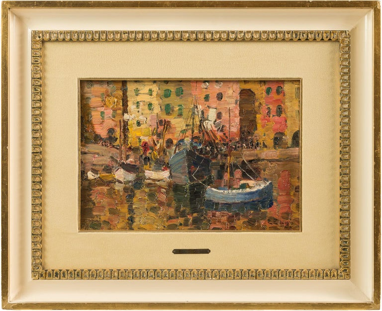 Erma Zago Landscape Painting - 19th century Italian painting view of Milan - Signed oil on panel - Venice Italy