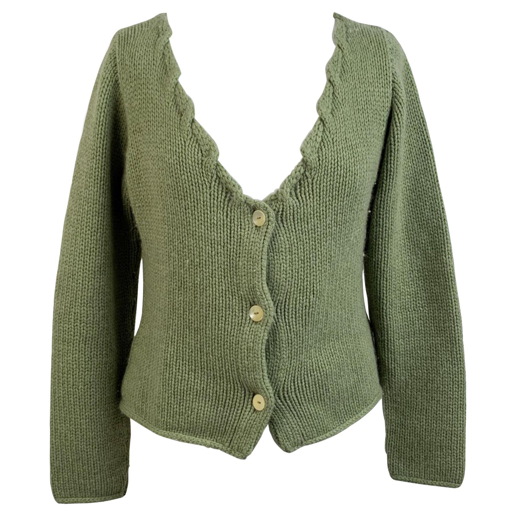 Ermanno Daelli Vintage Green Cashmere Sweater Cardigan Size S