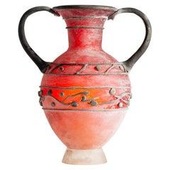 Ermanno Nason for Vetreria Cenedese, Rare Red Scavo Glass Amphora, Italy, 1964