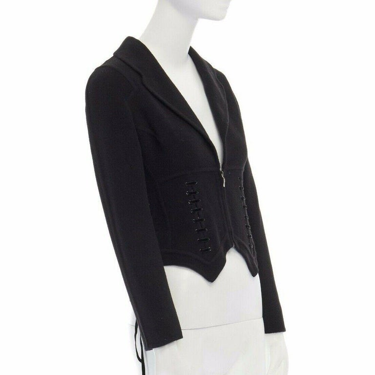 ERMANNO SCERVINO 100% cashmere black velvet corset lace waist cropped jacket XS In Excellent Condition For Sale In Hong Kong, NT