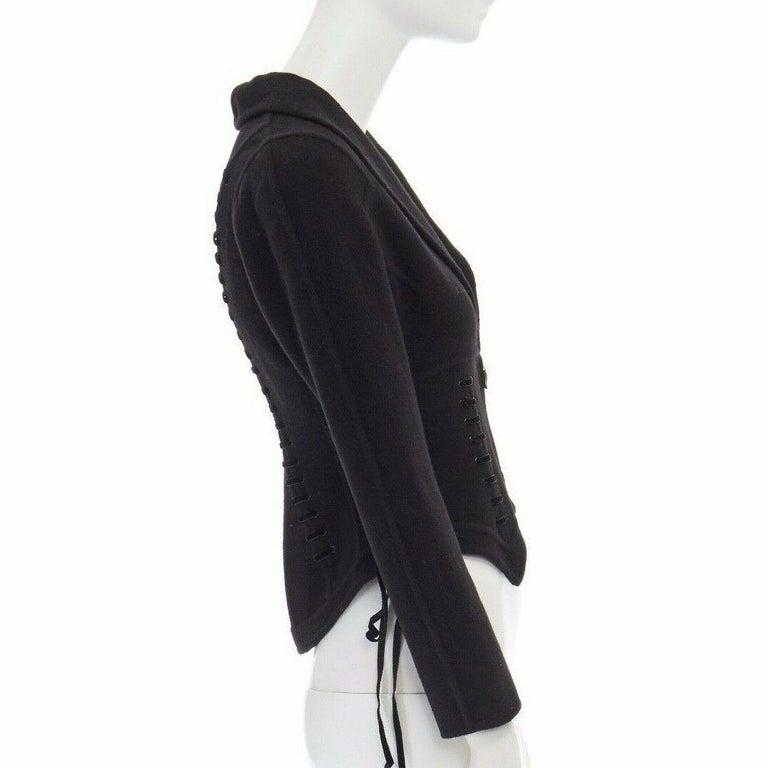 Women's ERMANNO SCERVINO 100% cashmere black velvet corset lace waist cropped jacket XS For Sale