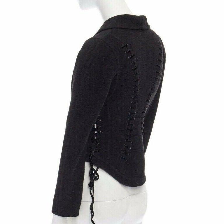 ERMANNO SCERVINO 100% cashmere black velvet corset lace waist cropped jacket XS For Sale 3