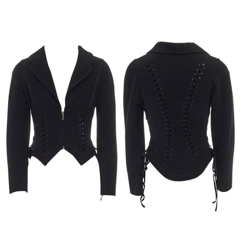 ERMANNO SCERVINO 100% cashmere black velvet corset lace waist cropped jacket XS For Sale