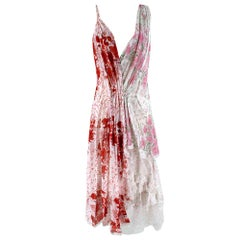 Ermanno Scervino Asymmetric Floral Dress In Pink/Red - Size US 10
