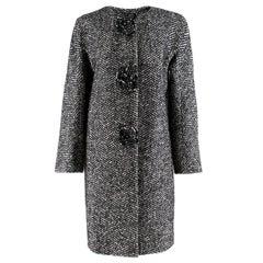 Ermanno Scervino Black & White Tweed Wool Blend Coat 40