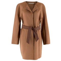 Ermanno Scervino Camel Wool Belted Coat - Size US 8